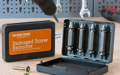 Vrtáky pro Odstranění Poškozených Šroubů PWR Work 4 kusy