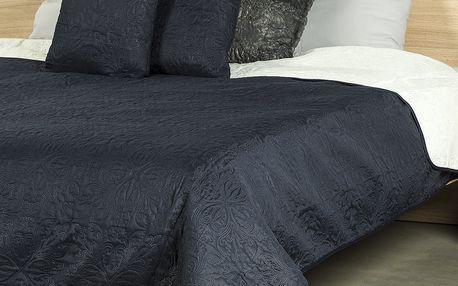 4Home Přehoz na postel Doubleface modrá/krémová, 240 x 220 cm, 2ks 40 x 40 cm