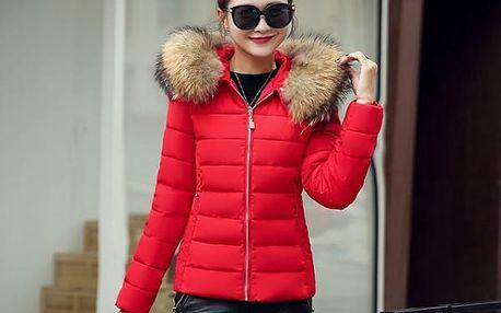 Dámská bunda s chlupatou kapucí - 7 barev