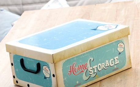 Úložná Kartonová Krabice s Víkem a Uchy Retro Oh My Home