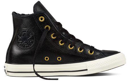 Converse černé kožené tenisky s kožíškem Chuck Taylor All Star Hi Black/Egret