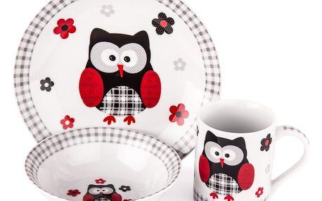 3dílná jídelní sada Černá sova, porcelán