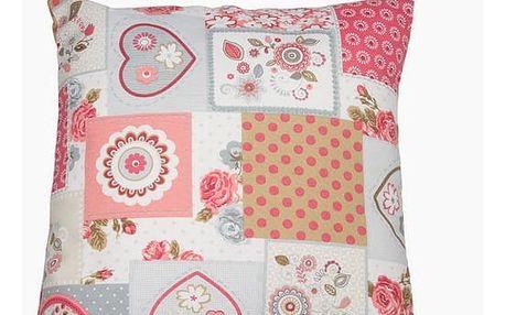Polštářek patchwork s červeným srdcem by Loom In Bloom