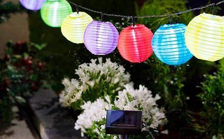 Solární Svíticí Řetěz s Barevnými Lampionky Th3 Party 10 LED