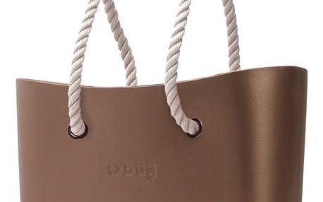 Obag kabelka Bronzo s bílými provazovými držadly