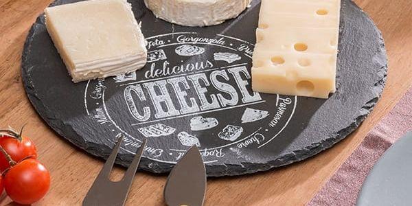 Kulaté Břidlicové Prkénko na Sýr