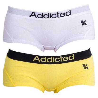 2PACK Dámské Kalhotky Addicted Žlutá Bílá L