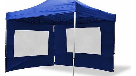 Garthen 371 Zahradní párty stan nůžkový PROFI 3x3 m modrý + 2 boční stěny