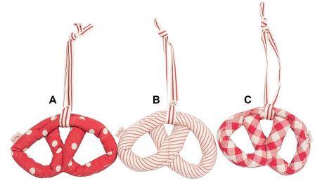 Maileg Látková dekorace Pretzel red 18cm B - proužek, červená barva, textil