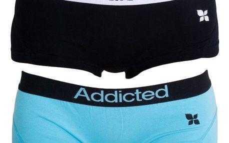 2PACK Dámské Kalhotky Addicted Černá Modrá XS