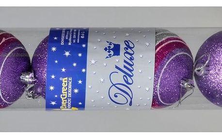 Vánoční koule Stripes fialová, pr. 8 cm