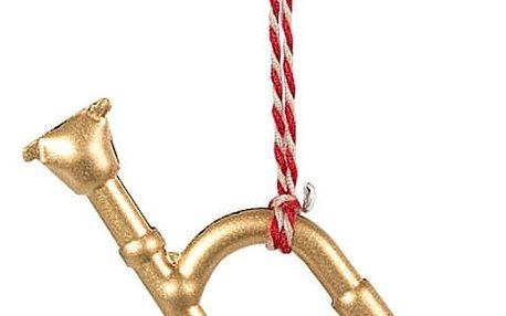 Maileg Vánoční kovová ozdoba Trumpetka, zlatá barva, kov
