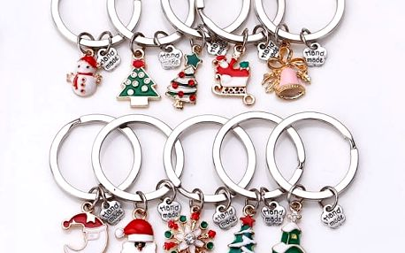 Klíčenka ve vánočním designu - 10 ks