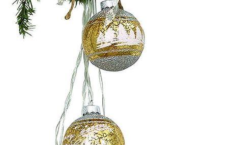 GREEN GATE Světelný řetěz s baňkami December Gold, zlatá barva, sklo