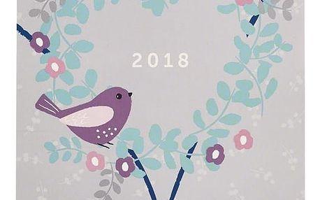 Busy B Kalendář pro dvojice 2018 Pretty, růžová barva, modrá barva, zelená barva, šedá barva, papír