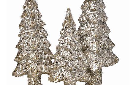 GREEN GATE Dekorativní stromečky December silver, zlatá barva, stříbrná barva, pryskyřice