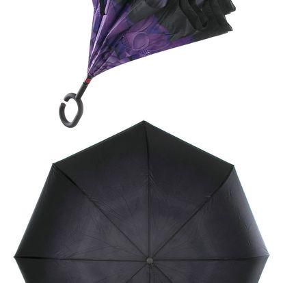 Obrácený holový deštník s dvojitým potahem fialová pivoňka