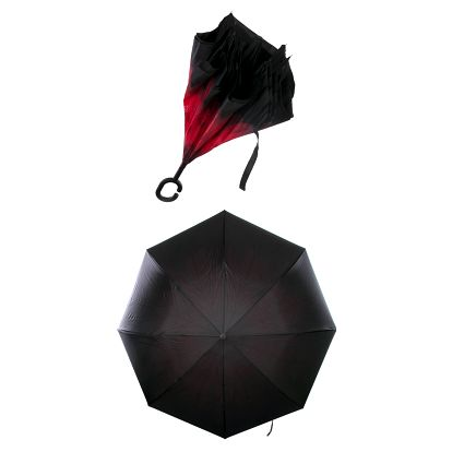 Obrácený holový deštník s dvojitým potahem červená gerbera