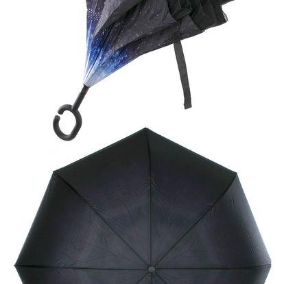 Obrácený holový deštník s dvojitým potahem Vesmír modrý