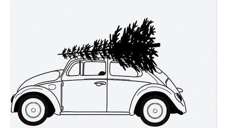 TAFELGUT Plakát XMAS Car 30x42 cm, černá barva, bílá barva, papír