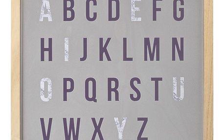 Bloomingville Dřevěný obrázek s písmeny Letters, fialová barva, šedá barva, dřevo