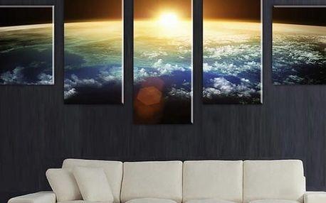 Obraz z 5 dílů se západem slunce nad zeměkoulí