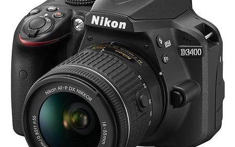 Digitální fotoaparát Nikon D3400 + AF-P 18-55 VR (VBA490K001) černý + Cashback 1300 Kč + Doprava zdarma