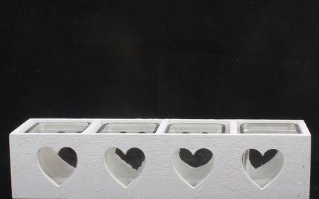 Dakls Dřevěný svícen se sklem na 4 svíčky Srdce, bílá