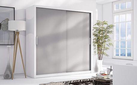 MEBLINE Luxusní šatní skříň s posuvnými dveřmi LONDON 200 bílý mat / popel