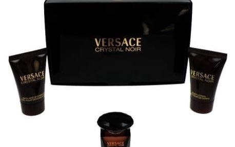 Versace Crystal Noir dárková kazeta pro ženy toaletní voda 5 ml + tělové mléko 25 ml + sprchový gel 25 ml