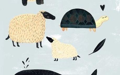 PETIT MONKEY Plakát Black and white animals 50 x 70 cm, modrá barva, bílá barva, papír