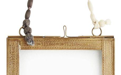 MADAM STOLTZ Skleněný fotorámeček Antique brass - menší, zlatá barva, čirá barva, sklo, kov