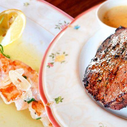 Menu pro 2 se steakem či kachními prsíčky a víno