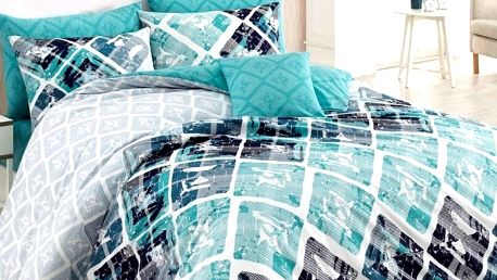 BedTex Bavlněné povlečení Riviéra tyrkysová, 140 x 200 cm, 70 x 90 cm