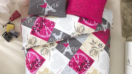 Night in Colours Bavlněné povlečení Parisienne růžová, 140 x 200 cm, 70 x 90 cm