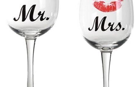 Sklenice na Víno Mr + Mrs