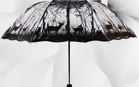 Skládací průhledný deštník s různými motivy - 4 varianty