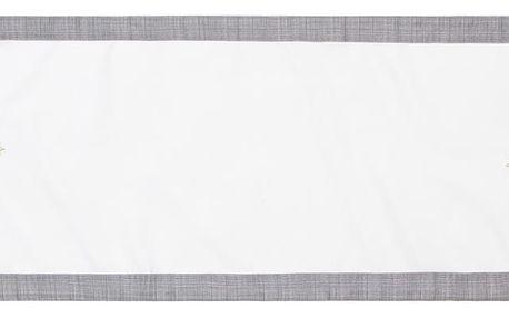 BO-MA Trading Běhoun na stůl Vánoční stromek Ornament šedá, 40 x 140 cm