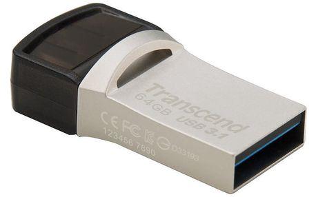Transcend JetFlash 890 - 64GB, stříbrná - TS64GJF890S