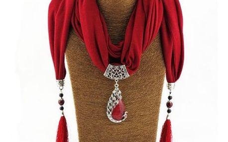 Dámský šátek s náhrdelníkem - 6 barev
