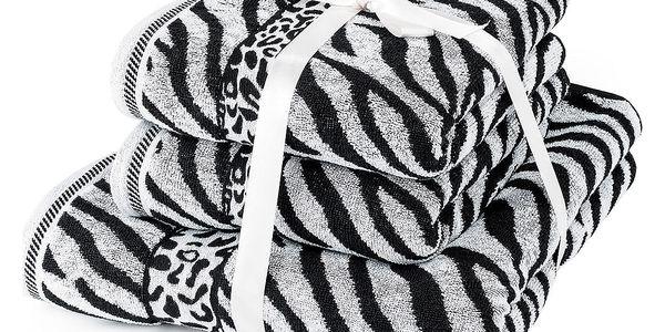 Jahu Sada ručníků a osušky Zebra bílá