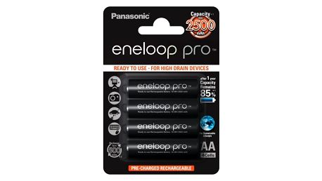 Baterie nabíjecí Panasonic Pro AA, 2500mAh, 4 ks (BK-3HCDE/4BE) černá