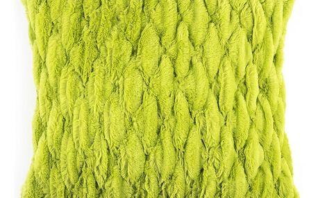 BO-MA Povlak na polštářek chlupatý prošívaný zelená, 45 x 45 cm
