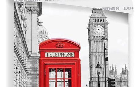 JERRY FABRICS Povlečení Londýn Telephone Bavlna, 140/200, 70/90 cm