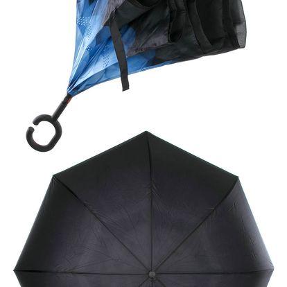 Obrácený holový deštník s dvojitým potahem modrá gerbera