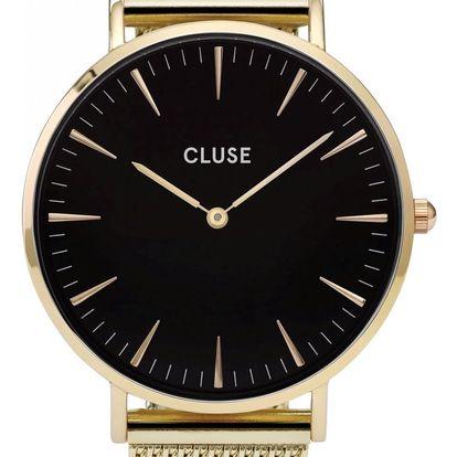 CLUSE Hodinky Cluse La Bohéme Mesh Gold/Black, černá barva, zlatá barva, sklo, kov