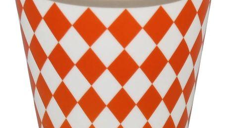 Krasilnikoff Hrneček Orange harlekin, oranžová barva, porcelán