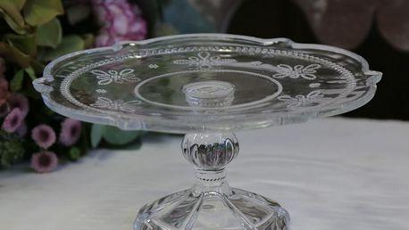 Chic Antique Skleněný stojan na dortíky Pearl Clear, čirá barva, sklo
