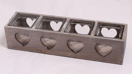 Dakls Dřevěný svícen se sklem na 4 svíčky Srdce, hnědá