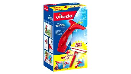 Čistič oken Vileda Windomatic Complete set Čistící přípravek Ajax na sklo 500 ml (zdarma) + Doprava zdarma